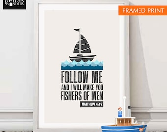 Boat Print, Bible verse wall art, Children's Room/ Kids Room/ Nursery art Print, Follow me and I will make you fishers of men Matthew 4:19.