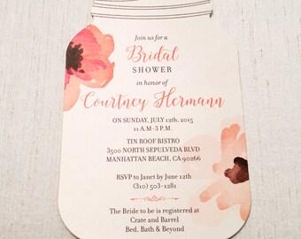 Mason Jar Bridal Shower Invitation // Rustic Invitation // Die Cut Invitation