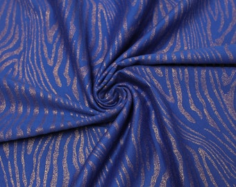 Royal Blue Ponte Roma Houndstooth Pattern Gold Foil Embroidered Fabric by the Yard Style 8071