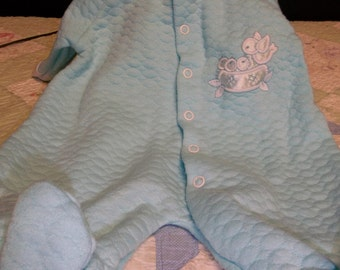 CLEARANCE! was 6.50 Vintage Baby Boy Blue Footed Pajama One Piece with Birds and Nest Applique, 317T