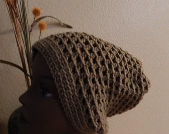 Tan Open Weave Crochet Hat