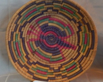 Native American Sweet Grass Basket Vintage/Antique Coiled Basket Papago: Butterfly design