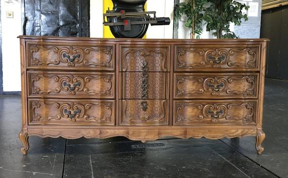 Bassett French Provincial Hollywood Regency Carved Dresser