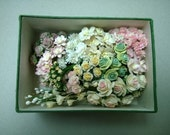 Ivory, white, pink and green paper flower set - Box with lid included