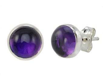 925 Sterling Silver Amethyst Gemstone Stud Earrings 9mm Round
