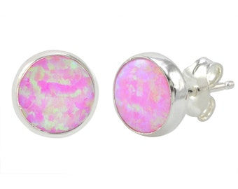 Sterling Silver Pink Opal Earring Studs 9mm Round