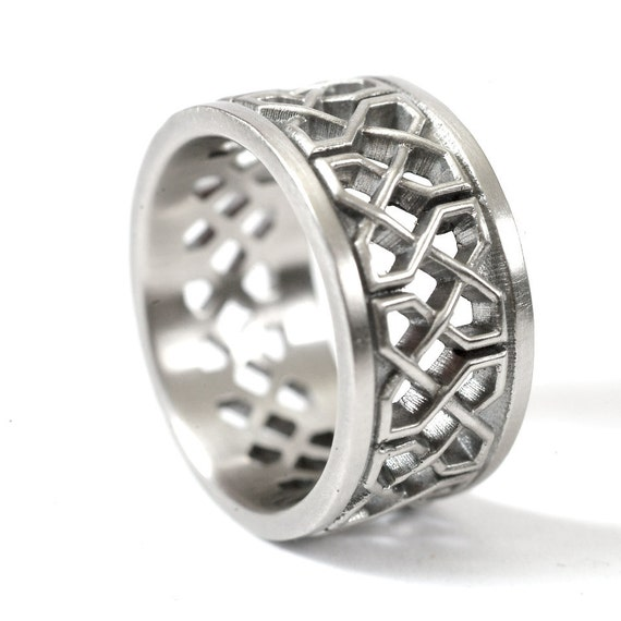 Celtic Wedding Ring With Open Cut-Through Knotwork Design in 14K Gold, Made in Your Size CR-741b