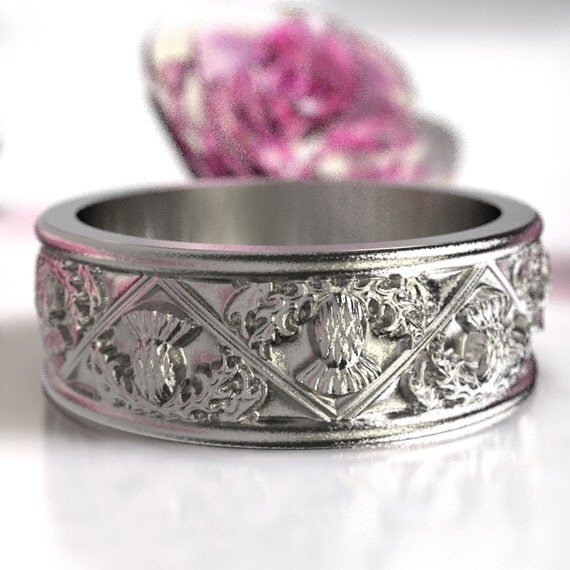 Thistle Ring, 925 Sterling Silver Scottish Ring, Unique Rings for Her, Botanical Jewelry, Handcrafted Rings, Custom Size 5067