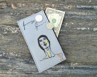 Vegan felt hand embroidered wallet, Coin pouch zipper, woman's zipper purse, Art clutch wallet, travel woman's accessories