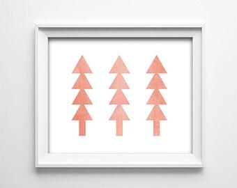 "INSTANT DOWNLOAD 8X10"" Printable Digital art file - Forest Trees - Peach - Triangle Geometric Wall Art - Nursery - Gift - SKU:3422"