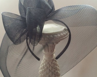 Black Fascinator Hat, Kentucky Derby Hat, Race Hat, Steeplechase Hat, Famous Hat Luncheon Hat, Breeder's Cup, Tea Party Hat, Style F-55