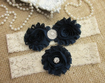 SALE -Navy Blue Wedding Garter Set, Country Chic Wedding Garter Set, Wedding Accesoories