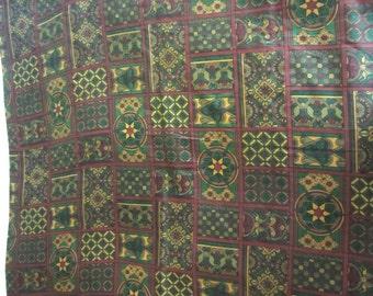 Vintage Silk Fabric Greens Golds Burgundy Victorian Design