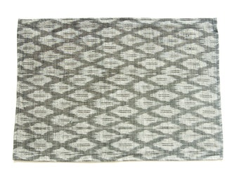 Ikat Cotton Cloth Placemat- Handwoven Grey Ogee- Set of 4