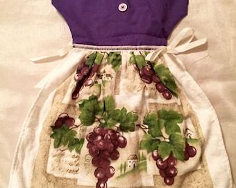 Handmade Purple Grape Winery Oven Door Dress Hand Towel