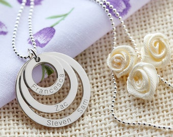 Luxury Personalised Family Name Mother's Necklace 3 Rings Pendant Sterling Silver 960 Argentium - for Mom Mum -Chain Options