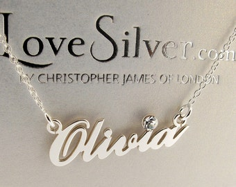 Silver Personalised Name Necklace Carrie Style with Crystal  ANY NAME  Gift Idea for Her for Daughter for Sister for Wife