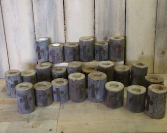 Tea Light set, 12-2 piece rustic sets with rustic cross, price reduction for April and May