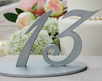 Silver Glitter Wedding Table Numbers, Silver Table Number for Weddings, Metallic Table Number, Wedding Table Decor, Wedding Reception Table