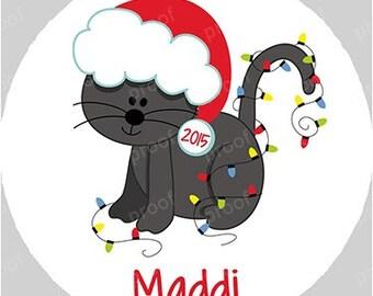 Personalized Black Cat Santa Christmas Acrylic Ornament