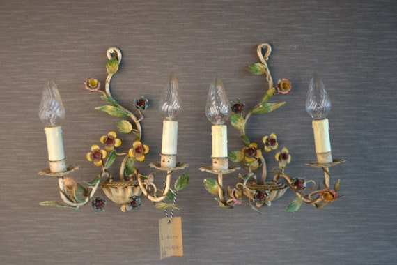 Beautiful tole Flower sconce pair.