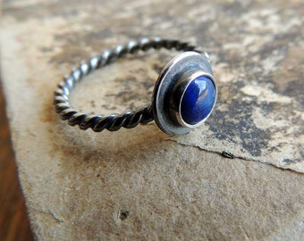 Lapis Lazuli silver ring, summer jewelry, Rings, stacking ring, gemstone ring, Sterling silver, Stackable ring by MARIAELA