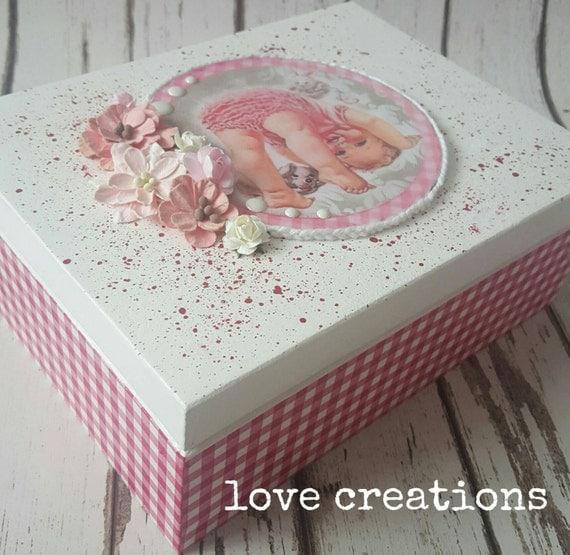 New baby girl,baby shower,christening,baptism gift,nursery decoration, memory box,keepsake Wooden,trinket Storage/Jewellery box,cute trinket