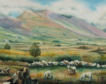 Ring of Kerry, Ireland, Watercolor Painting, Sheep, Landscape