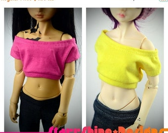 Sale 25% Off BJD MSD 1/4 Doll Clothing - Design Your Own Wideneck Crop Top - 20 Colors