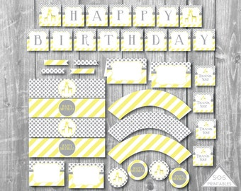Giraffe Birthday Printables, Gender Neutral Birthday, Yellow and Gray Birthday Decorations, Party Printables, Instant Download