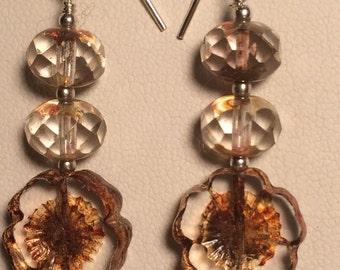 Glass fower earrings