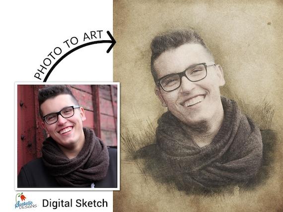 Custom Portrait • Turn Photo into Art • Digital Pencil Sketch • Hand Drawn Sketch from Photo • Custom Pet Portrait • Colored Pencil Sketch