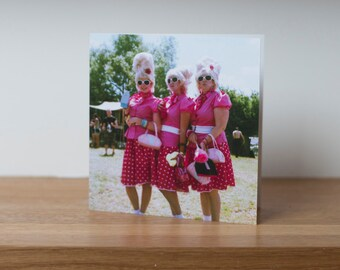 The Pink Ladies - a greetings card showing funny, retro, 1950's walkabout artists at Glastonbury Festival