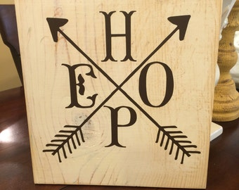 Distressed HOPE wood sign