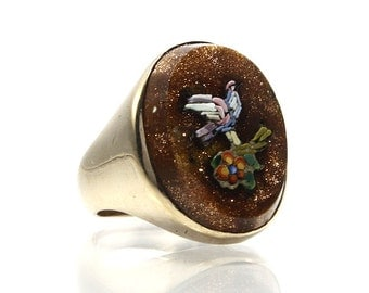 Antique Micro Mosaic Ring 14K Yellow Gold Size 5 With Goldstone
