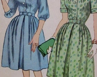 Vintage Simplicity 1950s  Simplicity pattern 3889 Misses and Womens One Piece  Dress  half size slenderette Size 14 1/2 **Epsteam