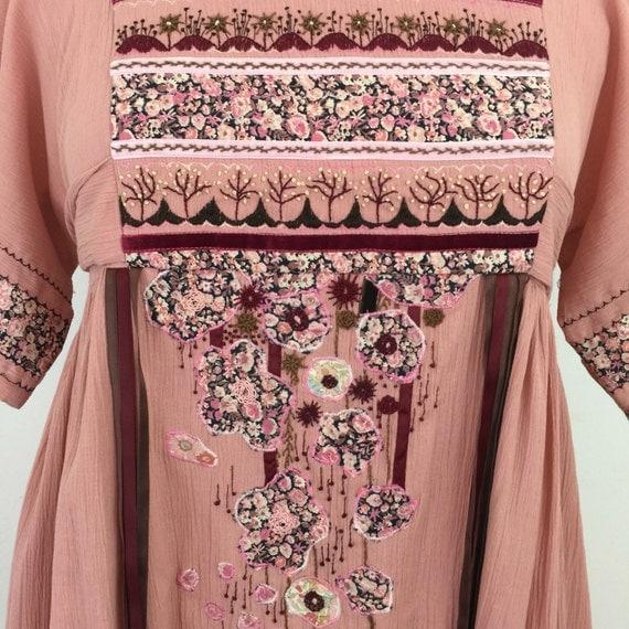 1970s smock dress handmade embroidered appliqued boho folk dress dusky pink UK 12 14 floral festival babydoll