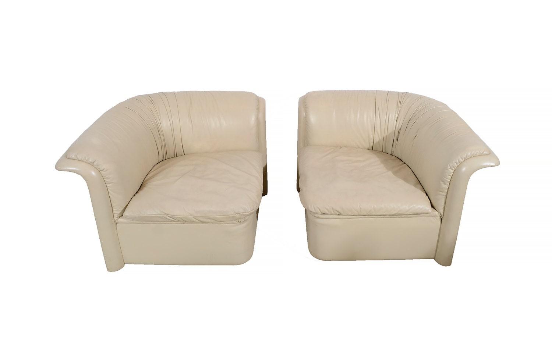 Dunbar Leather Corner Chairs Mid Century Modern Lounge Chair