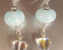 Glow in the dark lampwork beads and swarovski hearts earrings