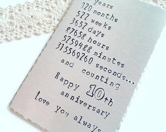 Wedding anniversary gift, Personalised wallet insert, Traditional gift, Ten years wedding gift, tin anniversary aluminium wallet card