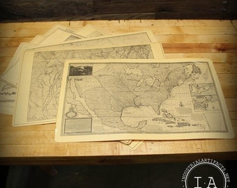 Set of 8 Vintage Laminated United States Maps Table Placemats