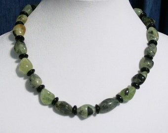 Green Prehnite Nugget Necklace,  Prehnite Necklace, Gemstone Necklace, Gemstone Nuggets, Chunky Necklace, Women's Jewelry