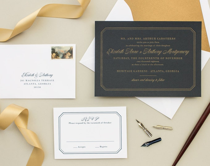 Formal Invitations for Traditional Weddings, Gold and Navy Invitations, Metallic Gold Letterpress on Navy Paper | DEPOSIT | Dashing