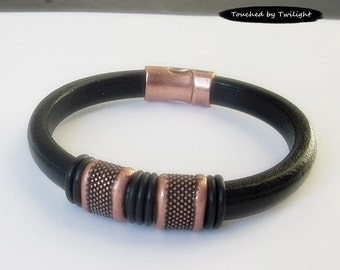 Mens Black Leather Bracelet, Copper Bracelet, Husband Gift, Boyfriend Gift, Fathers Day Gift