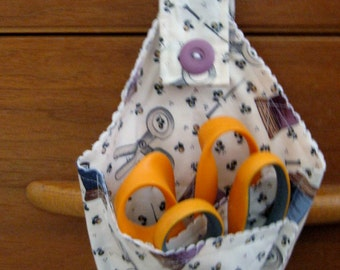 Sale Clearance=Scissor Holder  Made of Fabric with Loop for Hanging Fabric 1 --  Shipping Included