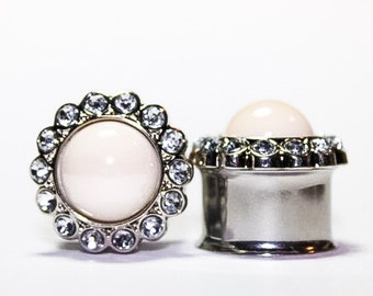 Shiny Ivory Pearl and Rhinestone Plugs, gauges  5/8, 3/4, 7/8, 1 inch