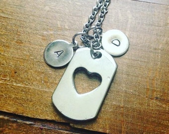 Open heart initial necklace