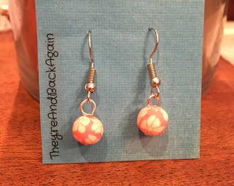 NeonPink Lily Clay Bead Earrings