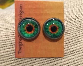 12mm Teal&Orange EyeBall Stud Earrings