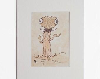 Whimsical Monster Art Print, Funny Illustration, Cute Monster Print, Matted 5 x 7 Print